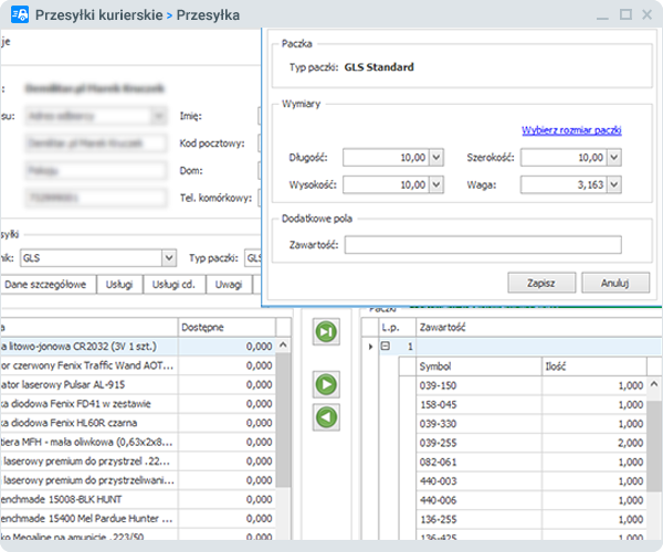 Import towarów i cenników - zrzut ekranu